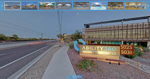 Street view of Ability360 with thumbnail images of other parts of the center.
