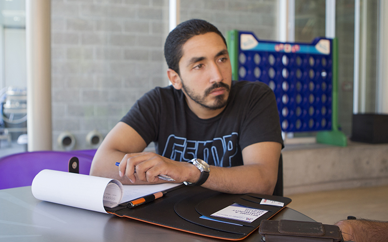 Mohamed Raafat is gathering information at Ability 360 in Phoenix with the hope of helping others. (Photo by Caela Fox/Cronkite News)