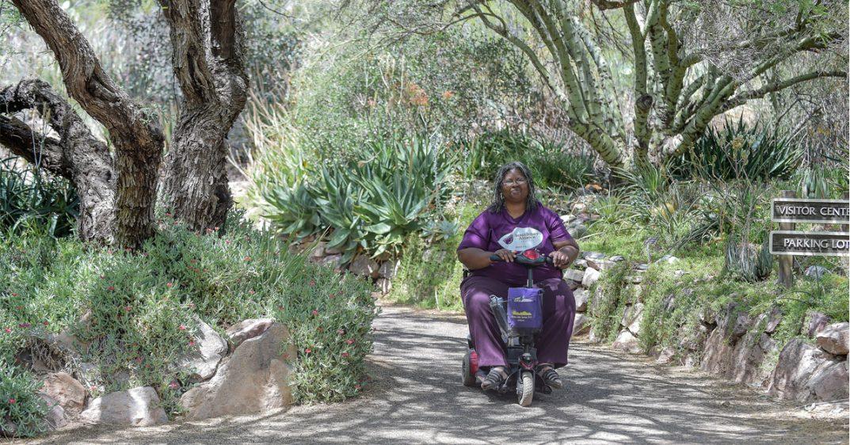 A wheelchair user poses on a path at Boyce Thompson Arboretum.