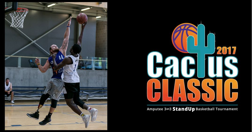 A basketball player blocks another player's shot. The Cactus Classic logo is on the right.