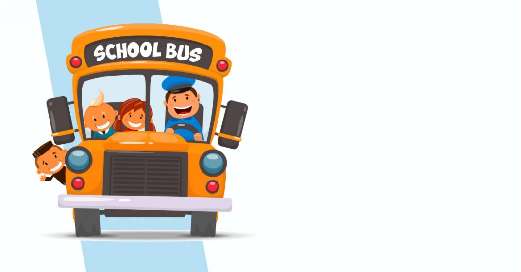 Illustration of a school bus with a driver and three young passengers smiling and waving.