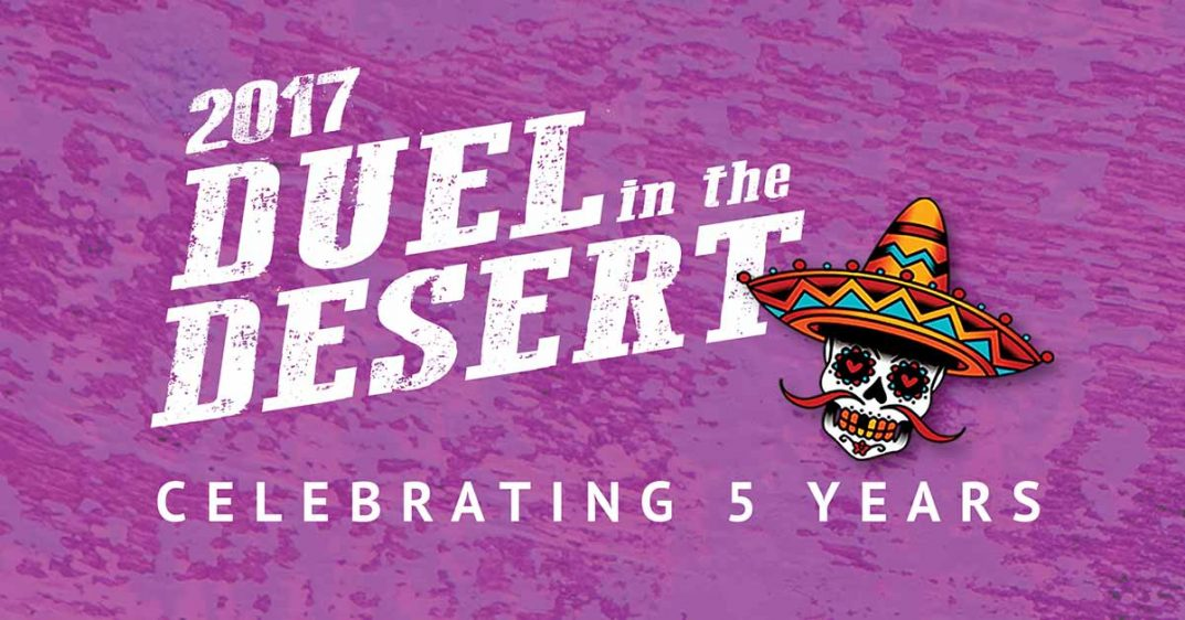 Duel in the Desert logo shows a calavera with a mustache wearing a sombrero.