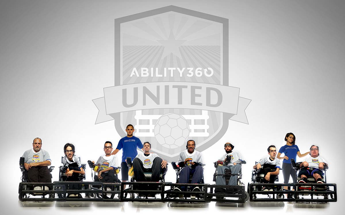 All power soccer team members next to each other facing the camera. Logo above says Ability360 United.