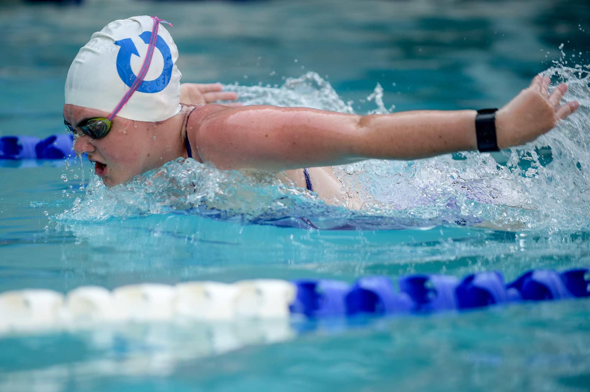 A person swimming