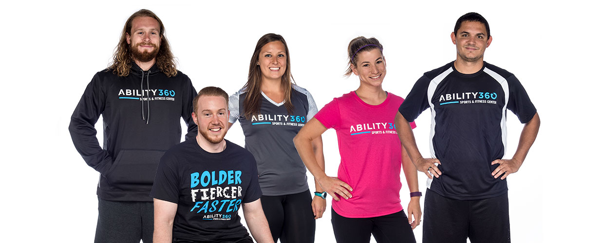 Ability360 staff wearing several different styles of shirts.