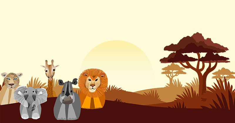 Illustration of jungle animals with background foliage. The animals include a jaguar, elephant, giraffe, rhinoceros, and lion. They are cartoonish.