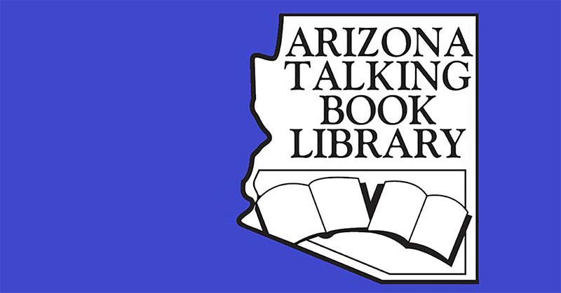 Arizona Talking Book Library logo, a blue square with the Arizona state map and inside are two open books.