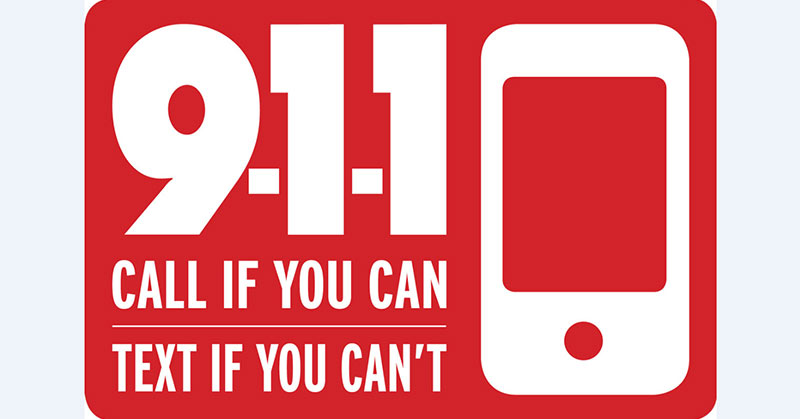 """An illustration of the Text-to-911 logo, in red and white, with the words """"call if you can, text if you can't."""""""