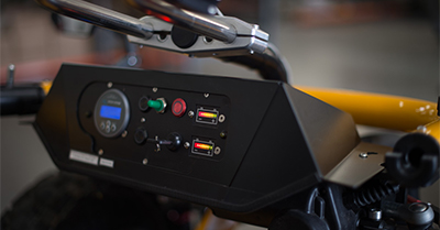 The control panel of the terrain hopper.
