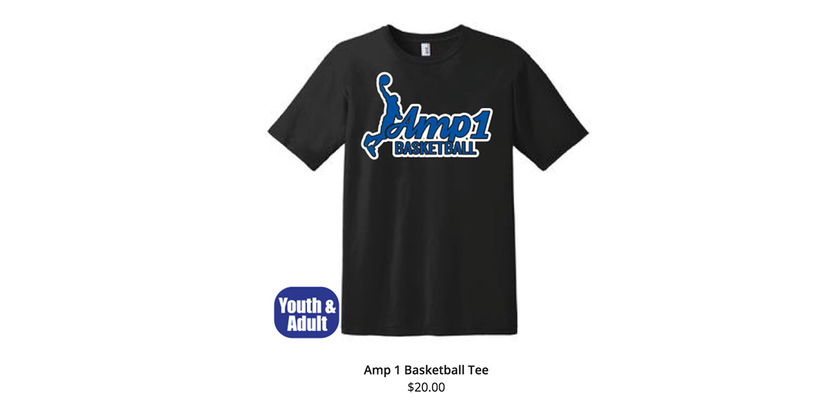 "Black AMP1 Shirt showing basketball player dunking a basketball over words that say ""AMP1 Basketball"""