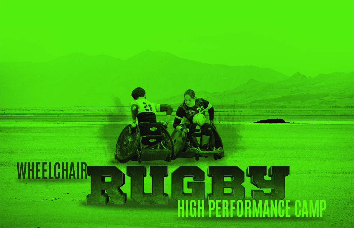 Two rugby players on the desert and the title Wheelchair Rugby High Performance