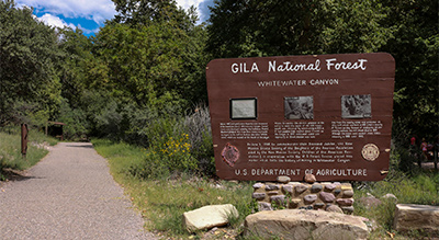 """The photo shows a wooden sign at the start of a trail saying """"Gila National forest"""" surrounded by greenery."""