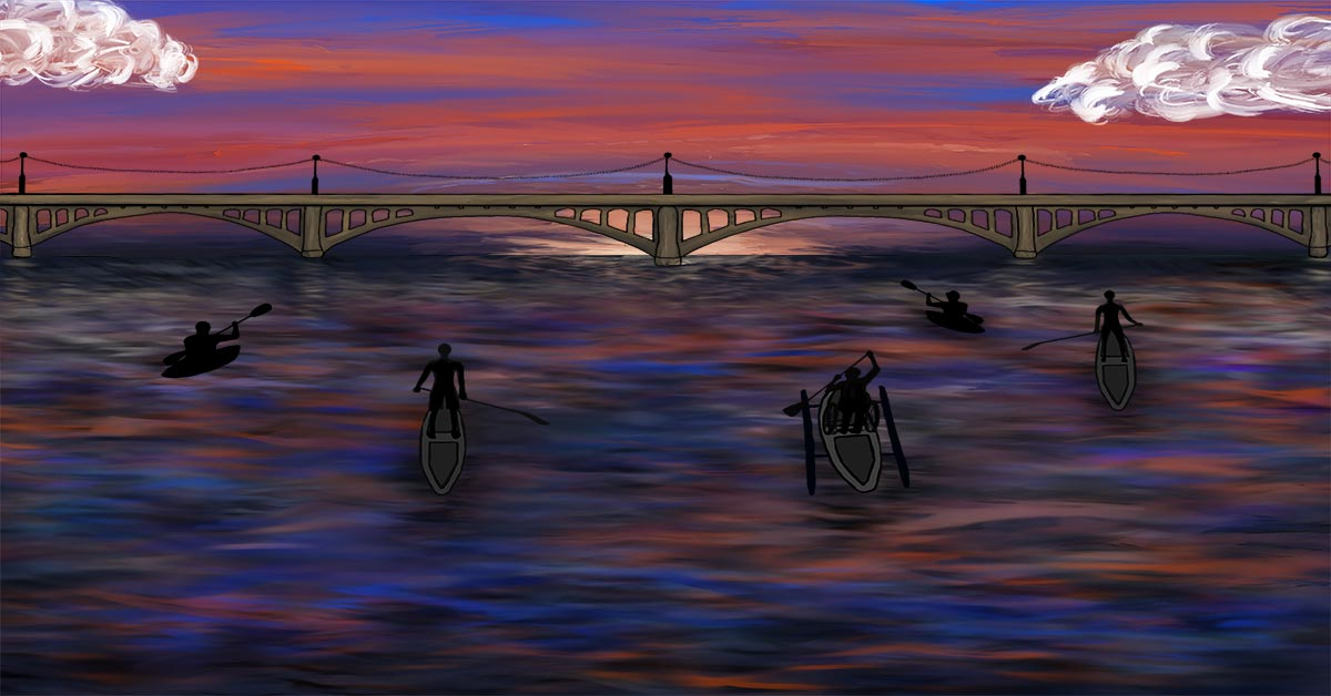 An illustration showing five people participating in water sports. The participants appear as darkened shadows, two people are kayaking, two people are paddle boating, and one person is participating in dragon boating. Beyond the lake is a sunset with reds, oranges, and blues.