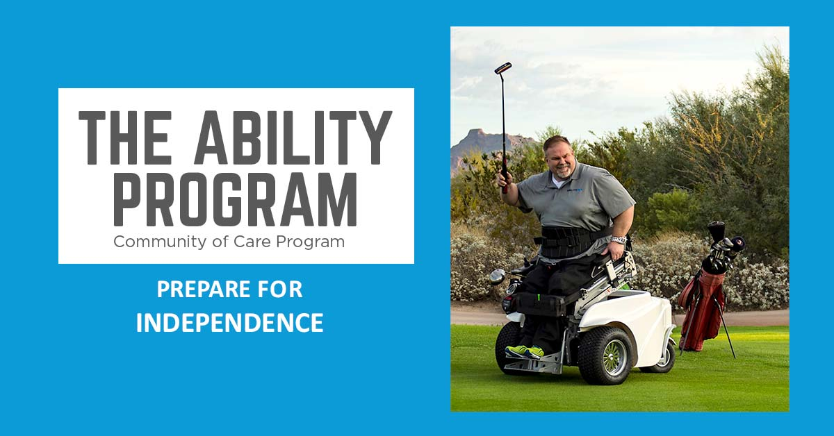 The Ability Program Community of Care Program. Prepare for independence. Photo of a man using adaptive equipment to play golf.