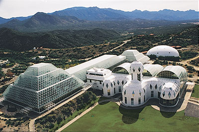 An aerial view of Biosphere 2
