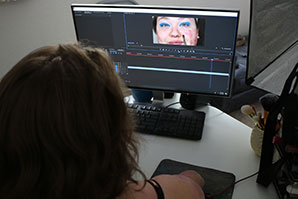 A view of Dobrow's computer screen while she edits, shows a look she created for one of her videos