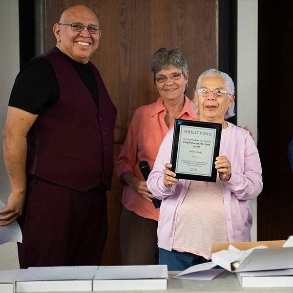 Sally Davis is awarded Pinal County Home Care Services Employee of the Year 2018