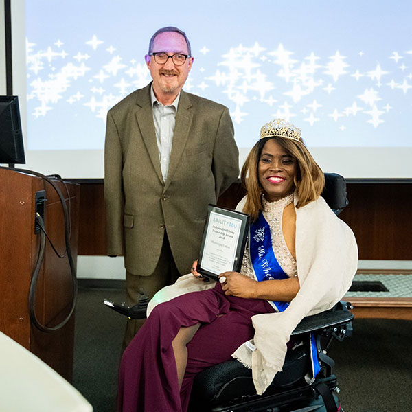 Shawnique Cotton is awarded the Independent Living Leadership Award