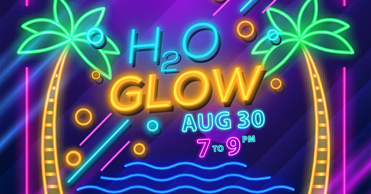 H2O Glow, August 30, from 7 to 9 p.m. Palm trees and water flow in the background glowing in neon colors.