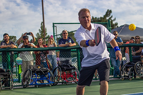 Tempe Mayor, Mark Mitchel plays pickleball at the opening ceremony of the courts