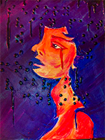 This painting by Rachel Fisher depicts an orange and warm-toned girl against a purple background. It is textured with dark dots from top to bottom.