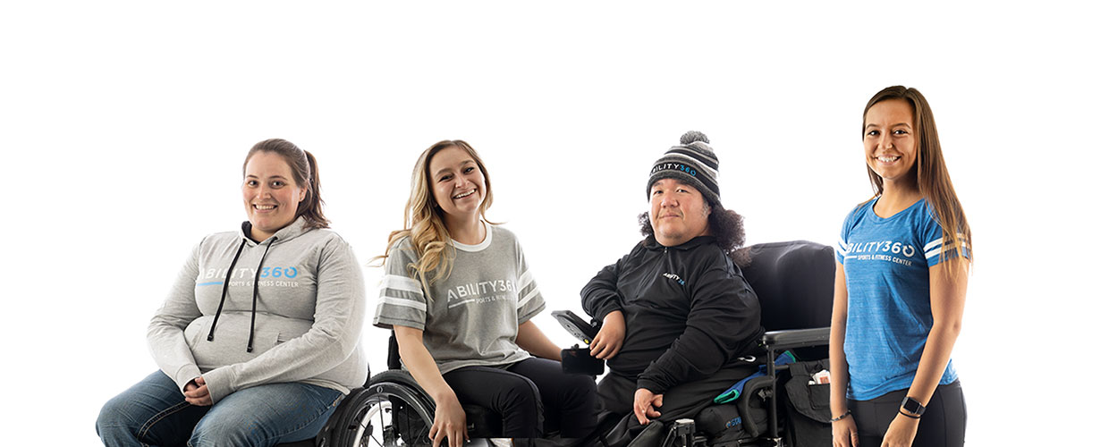 Various people wearing Ability360 apparel.