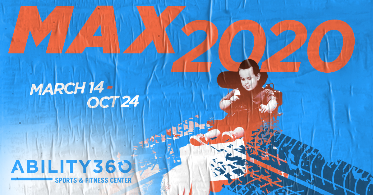 Image: Young boy plays power soccer. MAX 2020 March 14th to October 24th. Ability 3 60.