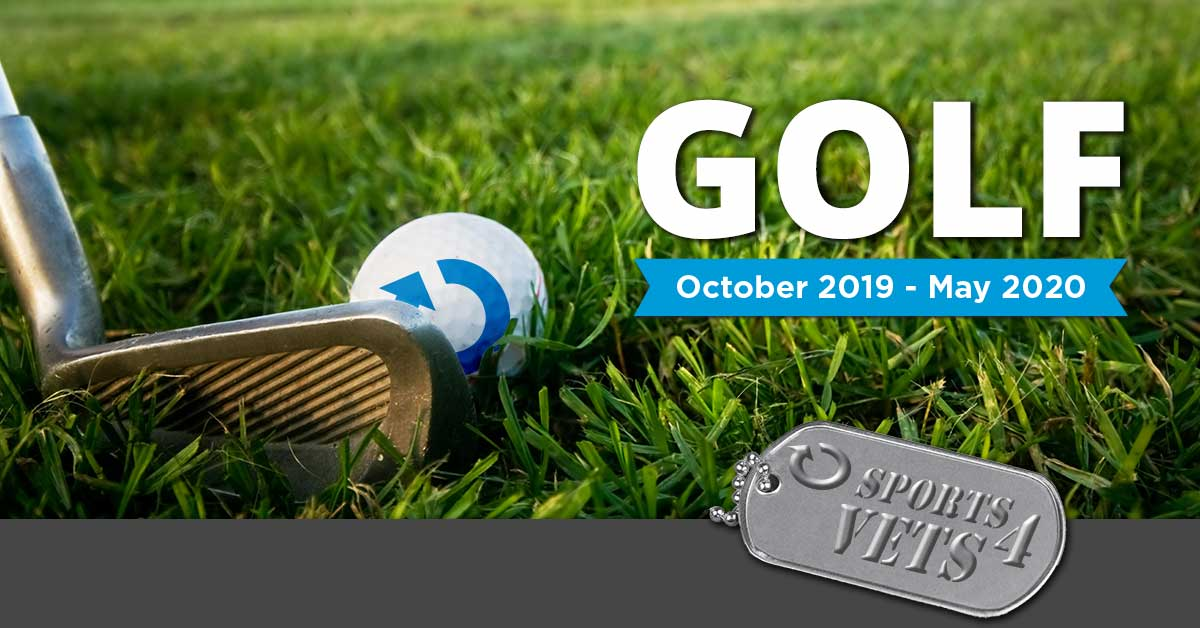 Sports for Vets Golf, October 2019 to May 2020. A golf club resting on the green grass next to a ball with the Ability360 arrow on it.