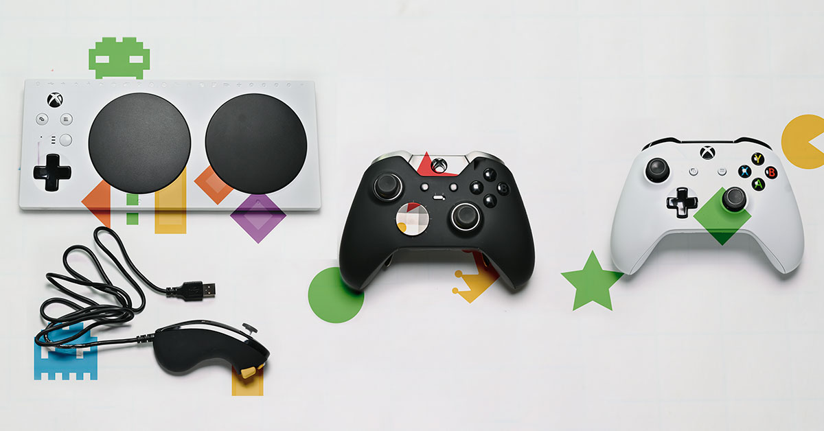 PHOTO: In the top of the left page a white Xbox Adaptive Controller with two large black circle buttons. The controller serves as the hub for other programmable buttons switches, mounts, and joysticks. The picture also shows two separate Xbox controllers, one black and one white.