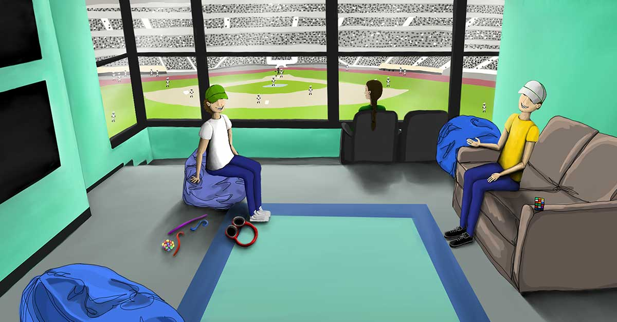 ILLUSTRATION: A sensory room that looks out to the baseball field that the Oakland Athletics play at. The room, painted green, has two televisions that sit on the wall, bean bag chairs, and sensory toys that sit on the floor. Three people sit in the room, one on a bean bag chair, one on a couch that looks at the TVs and one that is looking out at the baseball game.
