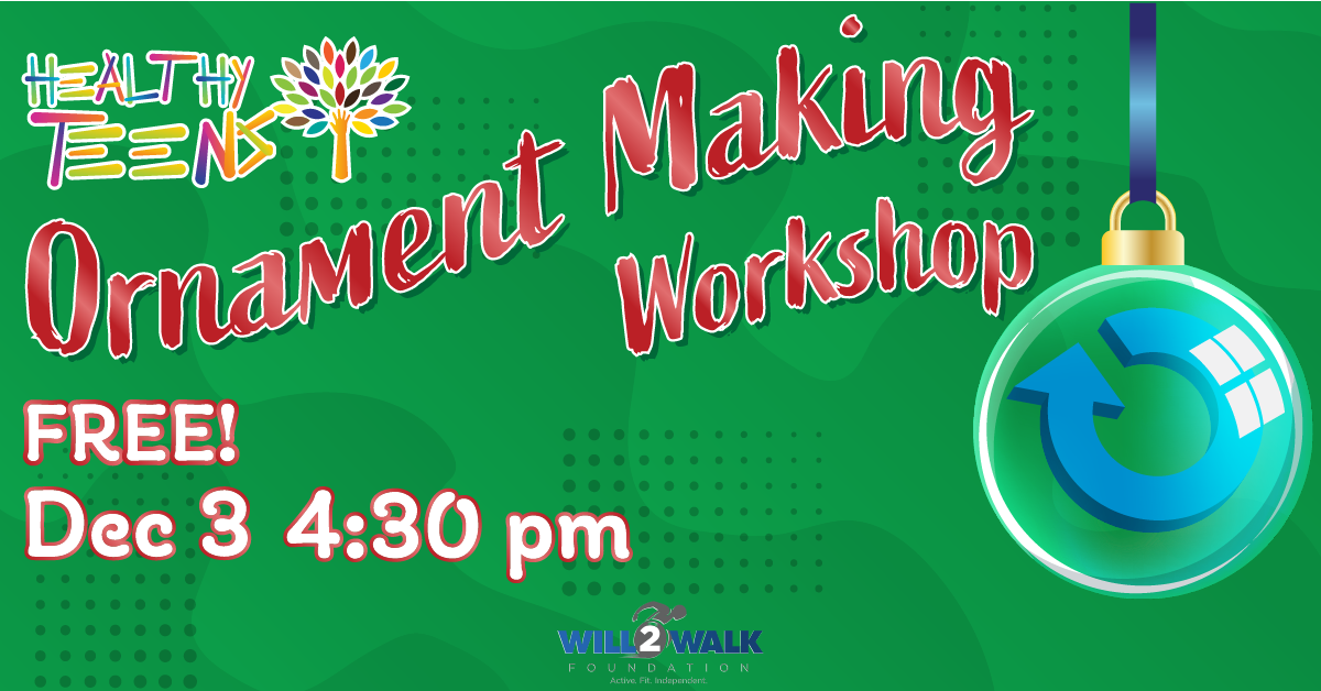 Teen 360 Ornament Making Workshop, Free, December 3rd at 4:30pm