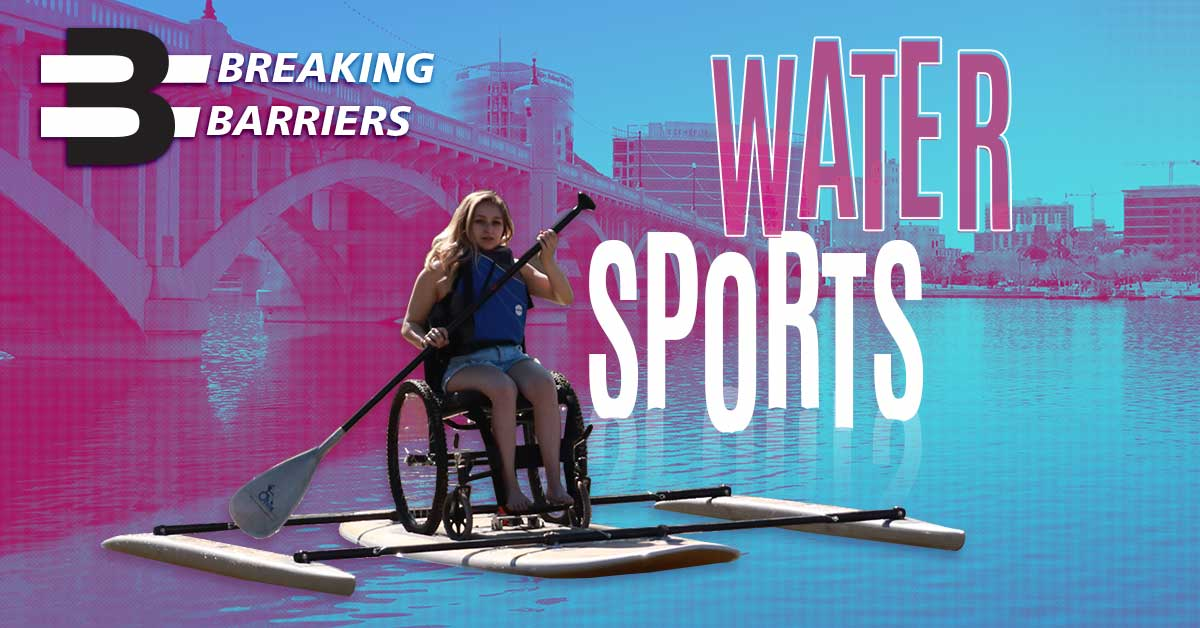 Breaking Barriers Water Sports, Woman using adaptive paddle boat at tempe town lake.
