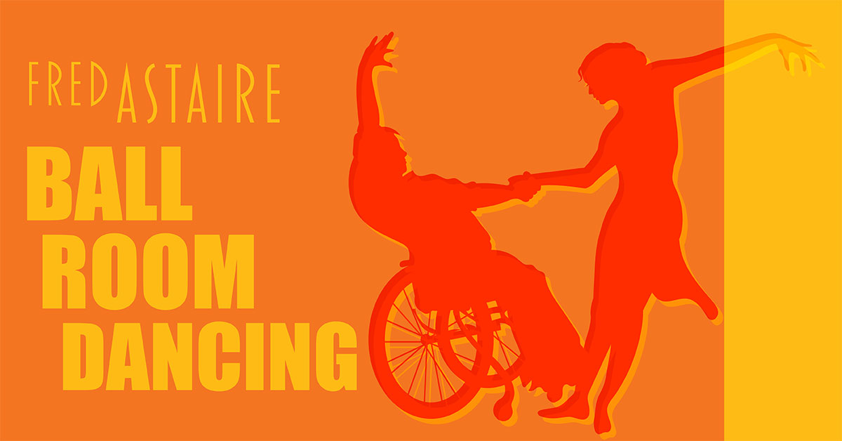 Fred Astaire Ballroom Dancing, Two people dancing together. One person is using a manual wheelchair.