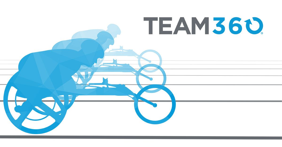 Team360, Several athletes line up on a track, ready to race each other. Each athlete is using a handcycle.