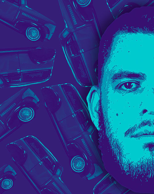 ILLUSTRATION: A blue-hued illustration of half of CJ Hernandez's face that cuts off at the edge of the page. Behind CJ are a handful of classic cars from the 1920s floating around him.   Illustration by Estéfania Cavazos.