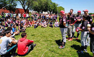 Members of the Austin Blackhawks teach beep baseball to students at La Universidad de la Matanza in Buenos Aires, Argentina. In 2019, the team traveled around Argentina spreading the sport. They have also traveled to Puerto Rico, Taiwan, Canada and the Dominican Republic teaching beep baseball.