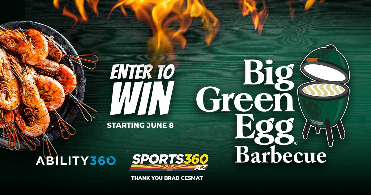 Enter to win big green egg barbecue. Ability360 and Sports 360 AZ, Thank you Brad Cesmat.