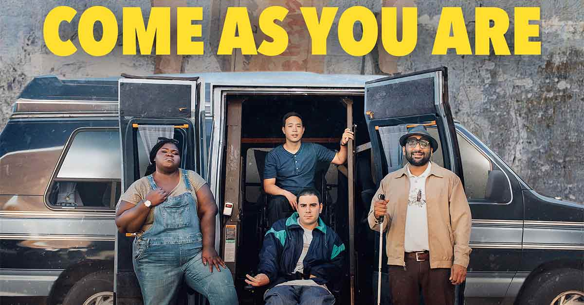 """A movie poster for """"Come as you Are"""" depicts four people posing in front of a van."""
