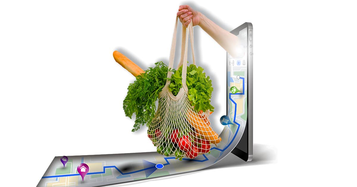 Graphic depicts and arm reaching out of a phone, holding a mesh bag of groceries over a map flowing out of the phone screen.