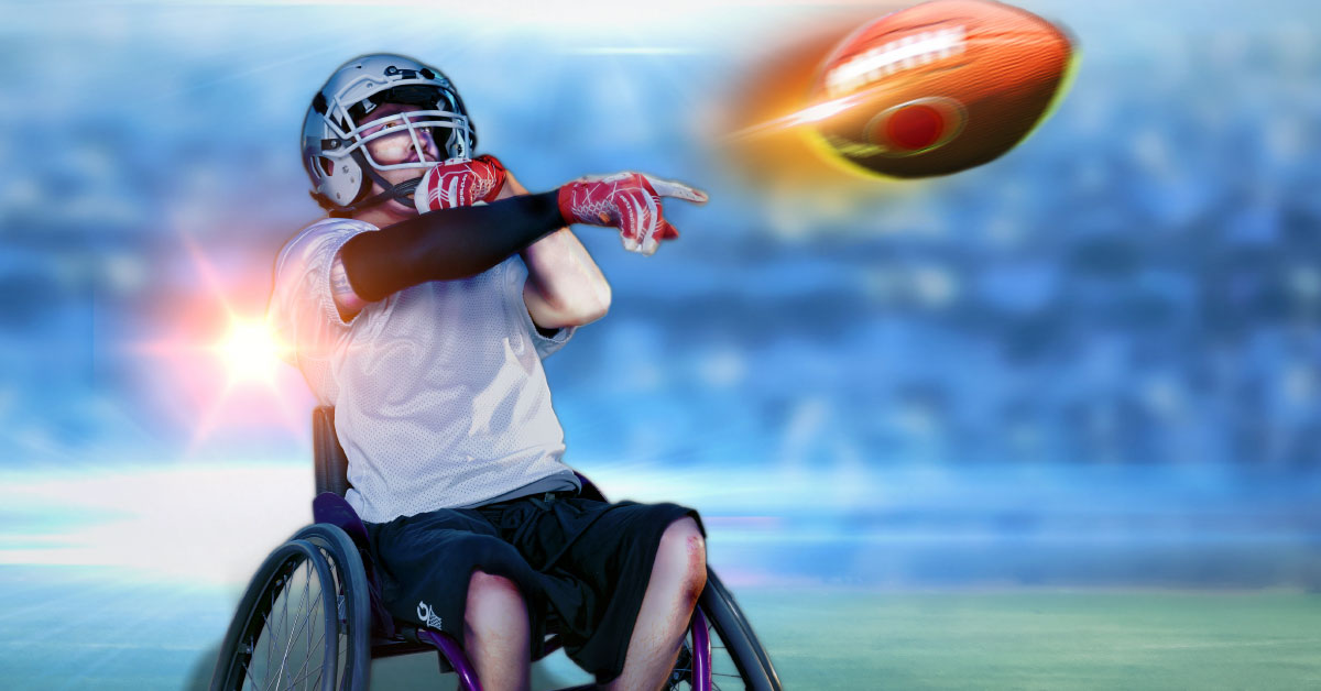Image depicts a wheelchair football athlete on a football field, the lights flared behind him while he throws a football.