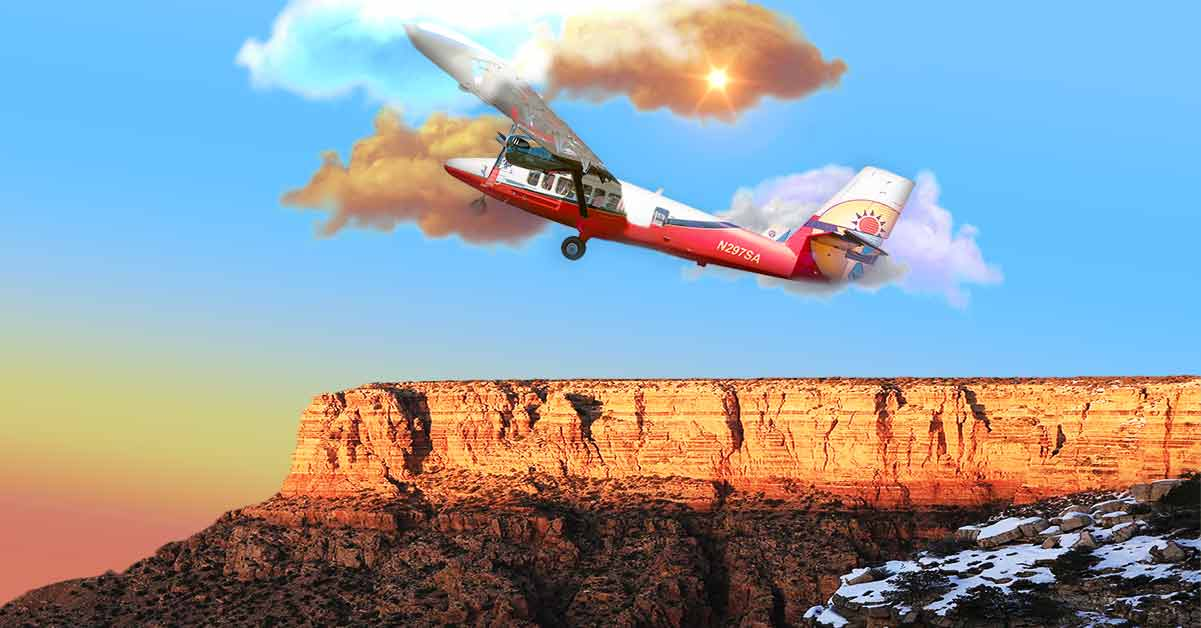 Image depicts an airplane flying over the Grand Canyon in front of a sunset backdrop and partially cloudy sky.