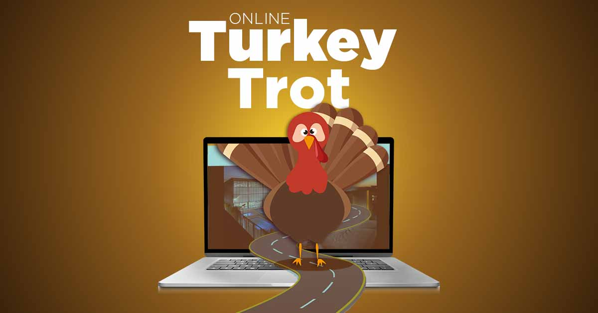 "Illustration: A road flows out from a laptop. A turkey looks straight ahead as it stands center on the road. Text reads ""Online Turkey Trot"""