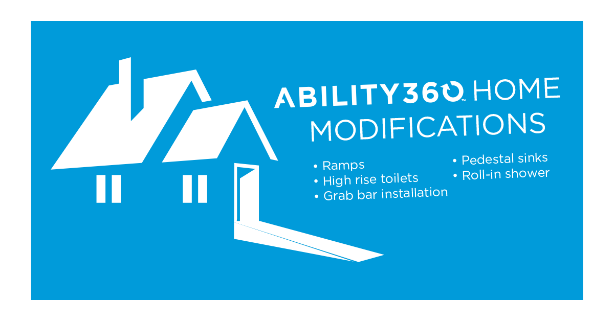 An illustration of a house with a ramp. Text reads Ability360 home modifications. Ramps, High rise toilets, grab bar installation, pedestal sinks, roll-in shower