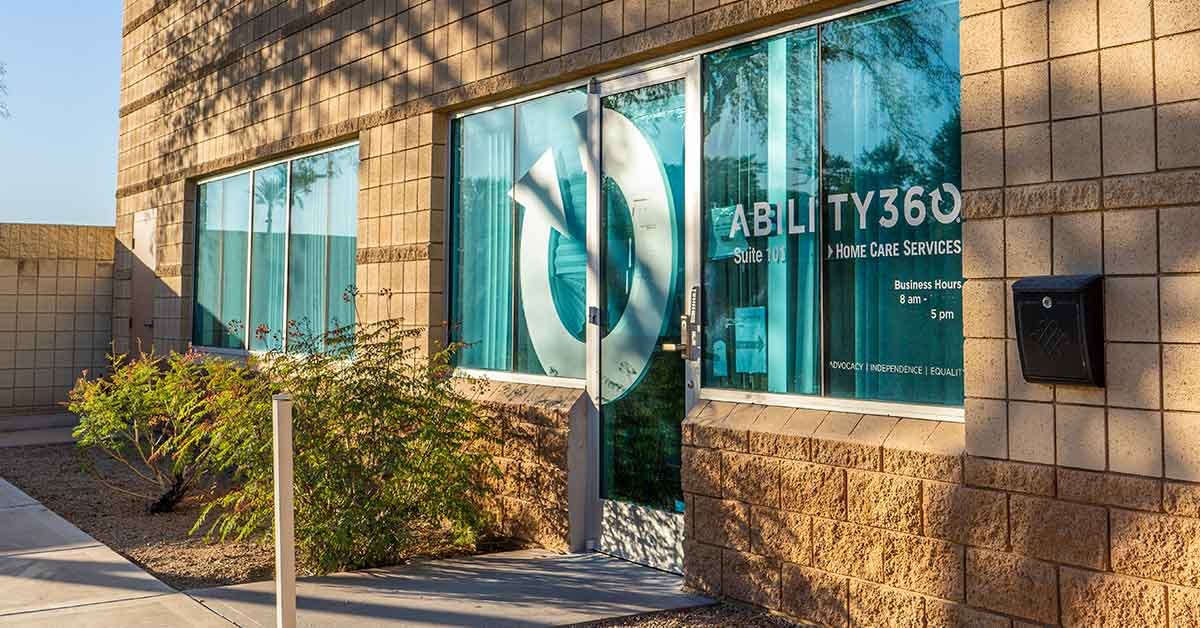 The front of the Ability360 Home Care Services building in Gilbert, AZ.