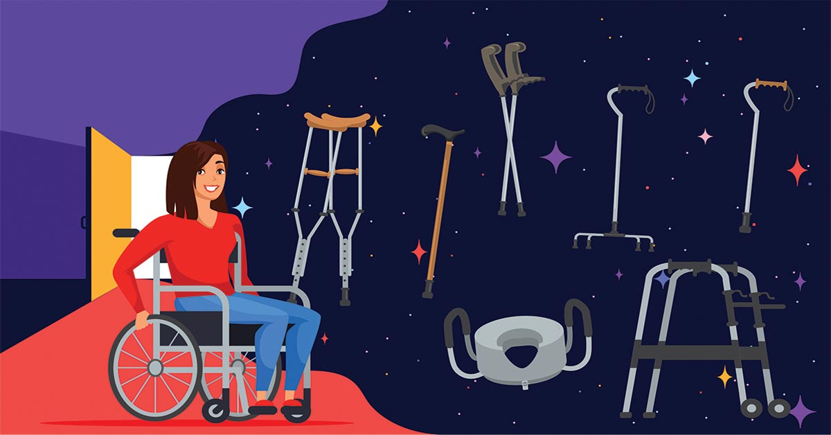 An illustration of a girl in a manual wheelchair. She is surrounded by other medical equipment, like a walker, shower chair, and crutches.