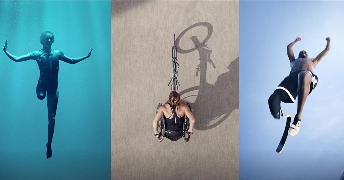 A depiction of a paralympic swimmer underwater, an overhead shot of a wheelchair track athlete, and a below photo of another track athlete with a leg prosthetic jumping