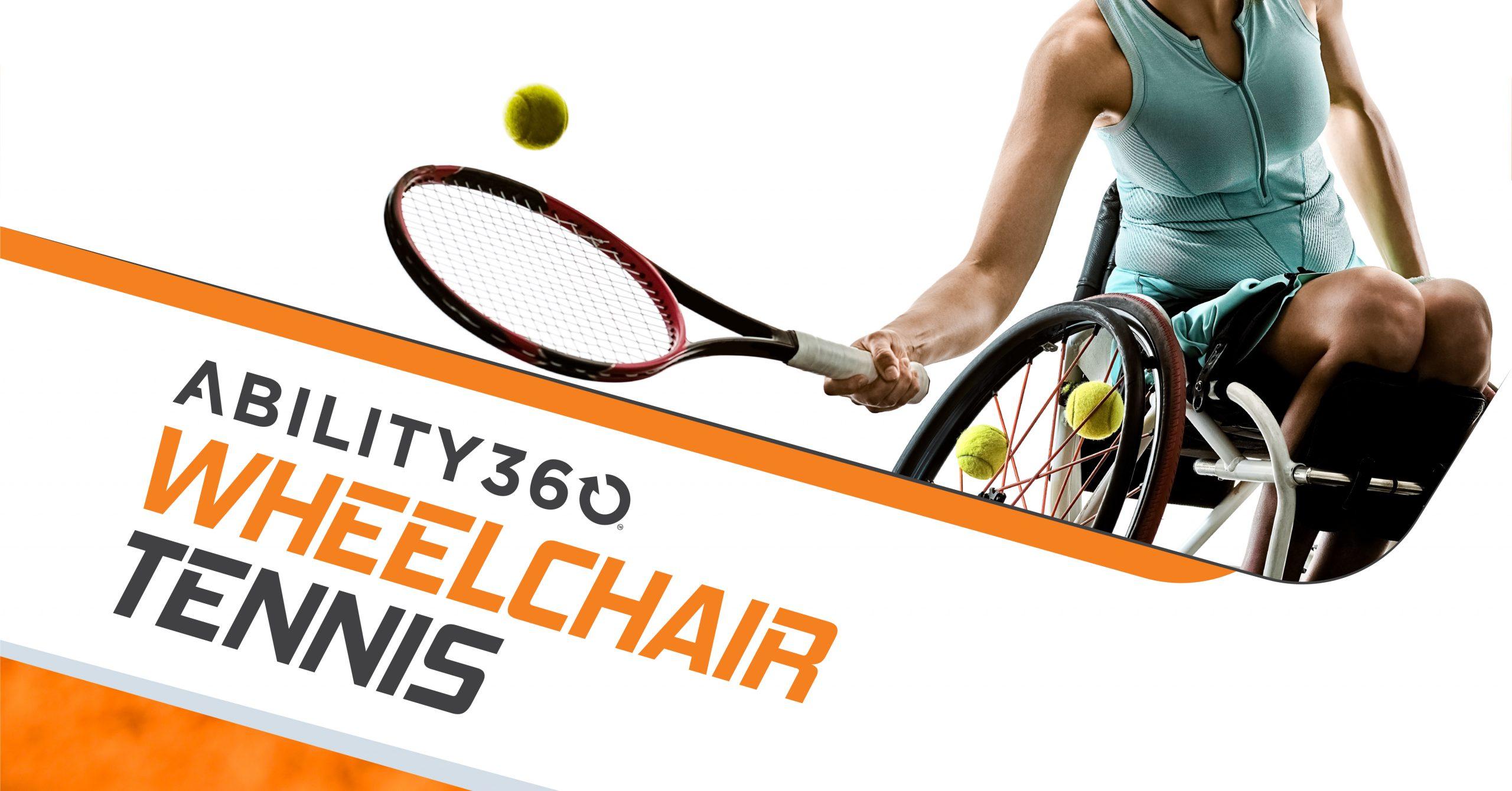 Ability360 Wheelchair Tennis. A woman using a manual wheelchair hits a ball.
